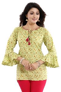 Drama Mama Lemon Green Short Kurti Top With Frilled Sleeves And Pom Pom Accessory