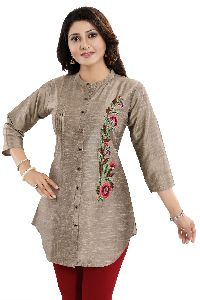 Elite Raw Silk Shirt-Style Tunic Top With Multi-coloured Graceful Embroidery