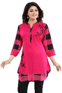 Fabulous Pink Rayon Designer Embroidery Tunic For Girls And Women