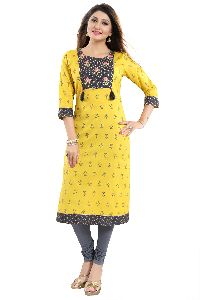 Flamboyant Designer Cotton Long Kurti With Contrast Embroidered Patchwork
