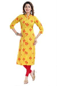 Flamboyant Yellow Long Cotton Printed Tunic With Shirt Style Silhouette