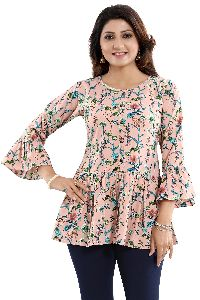 Floral Beauty Designer Poly Crepe Short Frock Style Front Open Tunic Top