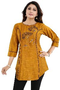Mustard Short Tunic Top For Women With Graceful Embroidery
