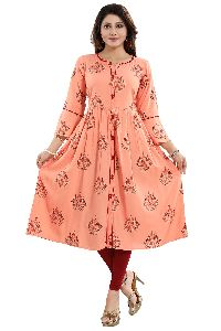 Pristine Peach Rayon Printed Flared Front Open Long Kurta For Ladies