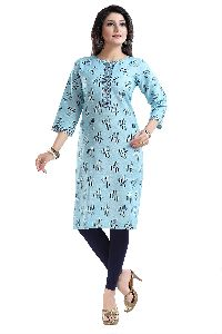 Sky Blue Jute Cotton Printed Kurta For Everyday Wear With Befitting Buttons