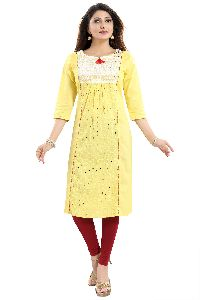 Vibrant Yellow Cotton Long Chicken Tunic With Pom Pom Accessory For Women