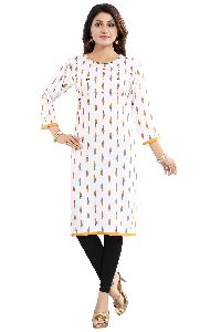 Vivacious White Rayon Cotton Womens Long Kurti With Subtle Tread And Beadwork