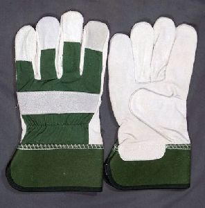 Green & White Leather Working Gloves