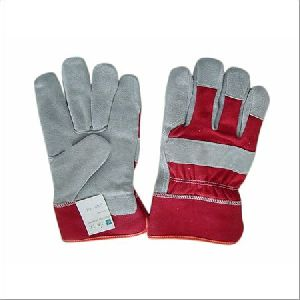 Grey & Red Leather Working Gloves