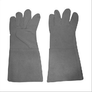 Long Grey Leather Working Gloves