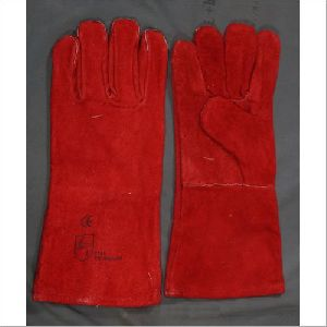 Long Red Leather Working Gloves