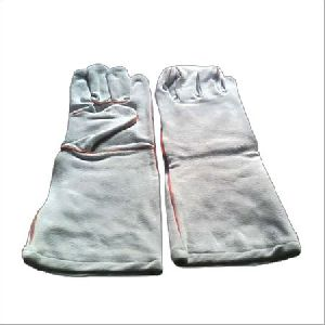 Long White Leather Working Gloves