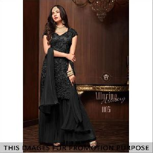 Black Net Kurti with Sharara