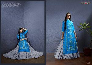 Blue Satin Salwar Kameez
