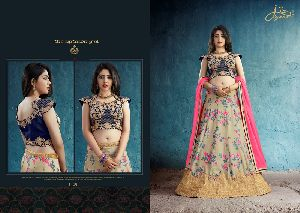 Digital Muslin Silk Lehenga