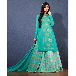 Linen Satin Lehenga With Short Kurti Suit