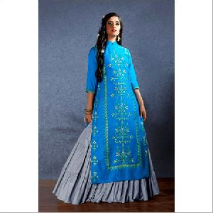 Muslin Gathered Style Lehenga With Long Short Kurti Suit