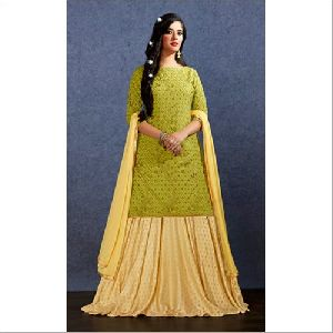Muslin Lehenga With Long Kurti Suit
