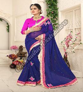 Blue Whale Georgette Festival Saree