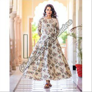 Cream Colour Pure Maslin Digital Print Gown