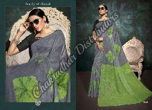 Linen Digital Print Designer Saree