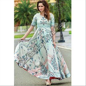 Pure Maslin Digital Print Gown