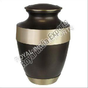 Adria Brown Cremation Urn with Gold Band