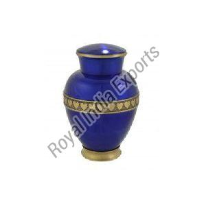 Blue Heart Print Brass Urn