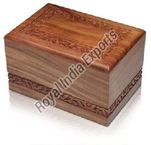 Carved Sheesham Wood Cremation Urn