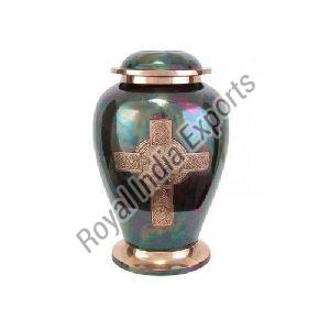 Cross Print Brass Urn