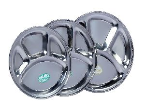 Stainless Steel Round Compartment Plate
