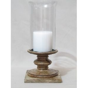 Wood And Glass Hurricane Candle Holder