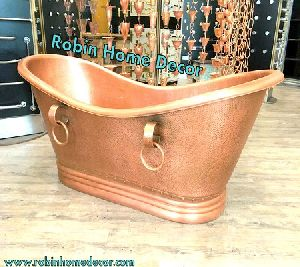 Copper Double Slipper Bathtub with Rings