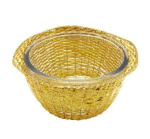 Aluminium Basket with Glass Bowl