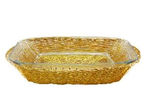 Aluminium Oval Basket with Glass