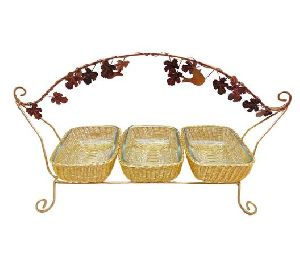 Handle Basket Set with Glass Bowl & Stand