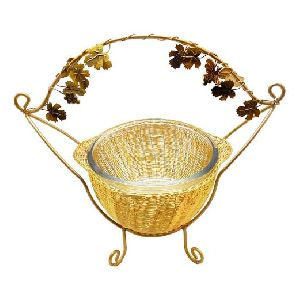 Handle Basket with Glass Bowl & Stand