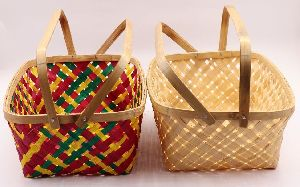 Rectangular Double Handle Bamboo Basket