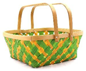 Square Double Handle Bamboo Basket