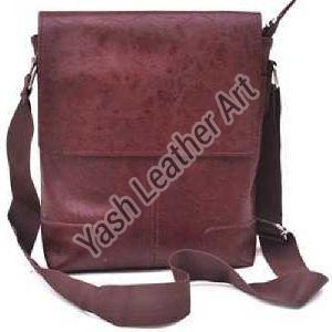 Brown Men PU Leather Crossbody Bag
