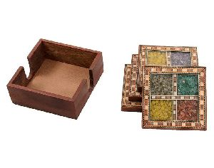 Wooden Square Coaster Set