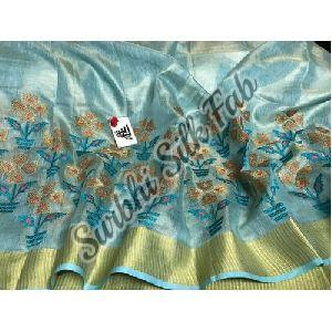 Blue Embroidered Linen Saree