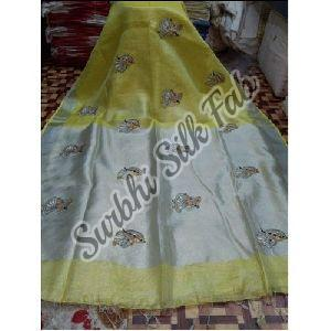 Embroidered Tissue Linen Saree