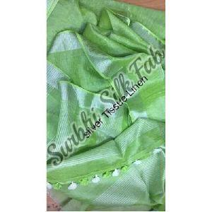 Green Tissue Linen Saree