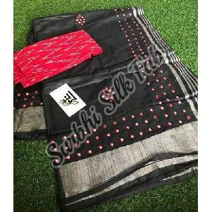 Mirror Work Linen Saree