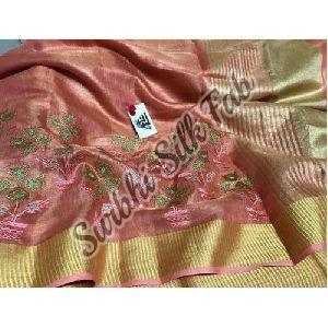Peach Embroidered Linen Saree