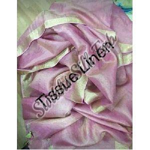 Pink Tissue Linen Saree