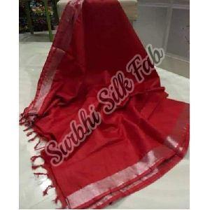 Red Tissue Linen Saree