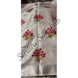 White Embroidered Linen Saree