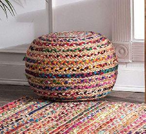 Multicolor Jute Braided Pouf